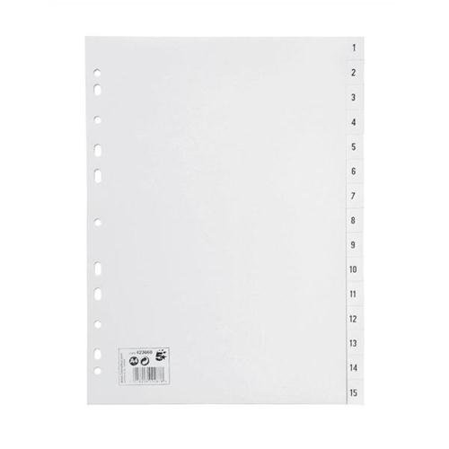 5 Star Office Index Multipunched 130 micron Polypropylene 1-15 A4 White