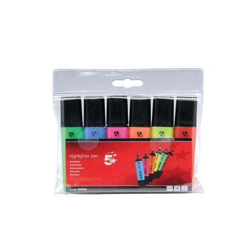 5 Star Office Highlighters Chisel Tip 1-5mm Line Assorted [Wallet 6]