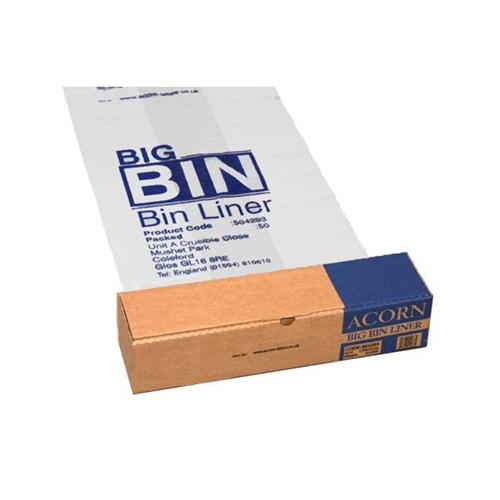 Acorn Bin Liners Reusable Capacity 160 Litres Clear/Printed Ref 142966 [Roll 50]