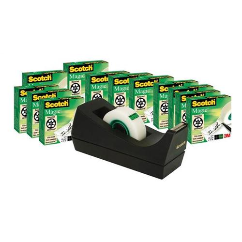Scotch Magic Tape Value Pack 19mmx33m Ref SM12 [12 Rolls & FREE Dispenser] [Promo]