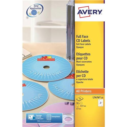 Avery CD/DVD Labels Laser 2 per Sheet Dia.117mm Black and White Ref L7676-25 [50 Labels]