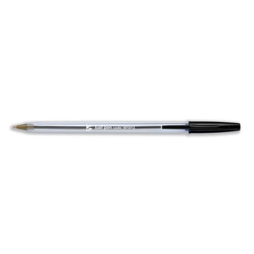 5 Star Office Ball Pen Clear Barrel 1.0mm Tip 0.4mm Line Black [Pack 50]