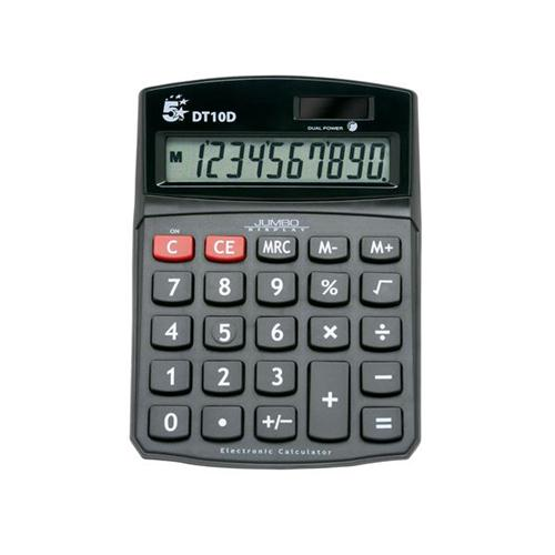5 Star Office Calculator Desktop Battery/Solar-power 10 Digit 3 Key Memory