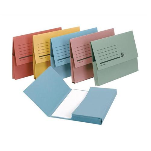 5 Star Office Document Wallet Half Flap 285gsm Recycled Capacity 32mm A4 Assorted [Pack 50]