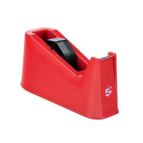 5 Star Office Tape Dispenser Desktop Weighted Non-slip Roll Capacity 25mm Width 66m Length Red