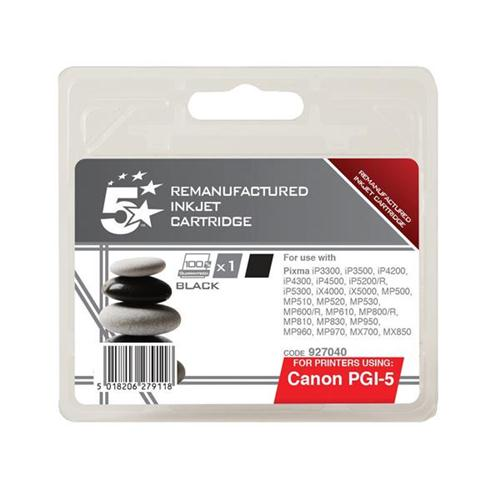 5 Star Office Remanufactured Inkjet Cartridge Page Life 520pp Black [Canon PGI-5BK Alternative]