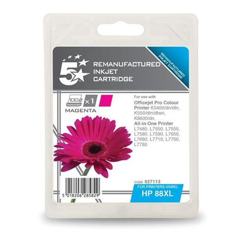5 Star Office Remanufactured Inkjet Cartridge Page Life 1200pp Magenta [HP No. 88XL C9392A Alternative]