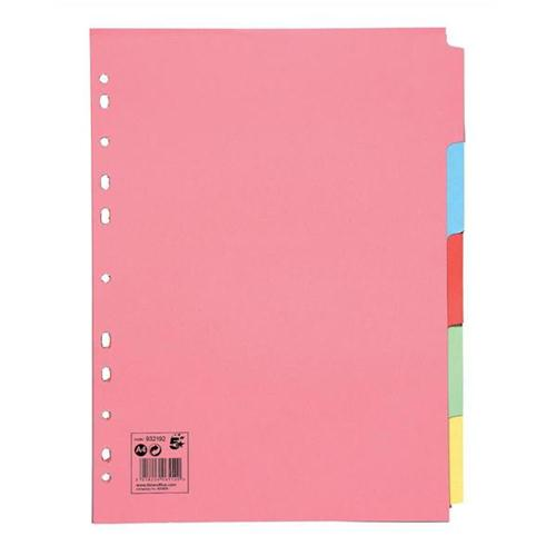 5 Star Office Subject Dividers Multipunched Manilla Card 5-Part A4 Assorted [Pack 10]