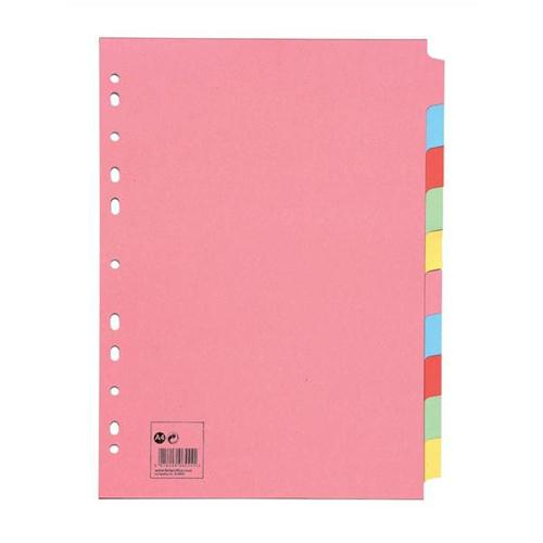 5 Star Office Subject Dividers Multipunched Manilla Card 10-Part A4 Assorted [Pack 10]
