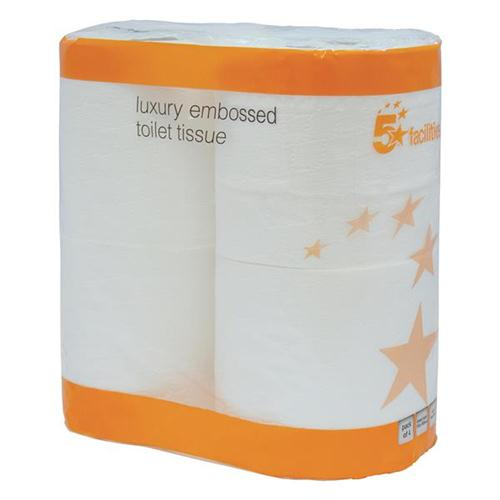 5 Star Facilities Luxury Toilet Tissue Rolls Two-ply 4 Rolls of 240 Sheets White [Pack 40 Rolls]