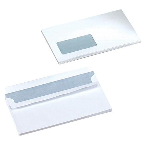 5 Star Office Envelopes Wallet Self Seal Window 90gsm White DL [Pack 1000]