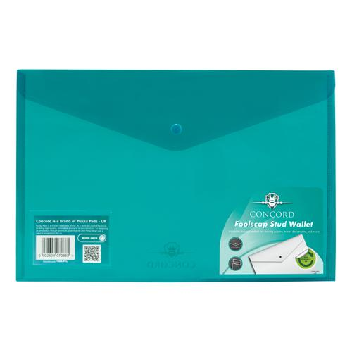 Concord Stud Wallet File Vibrant Polypropylene Foolscap Green Ref 7088-PFL [Pack 5]