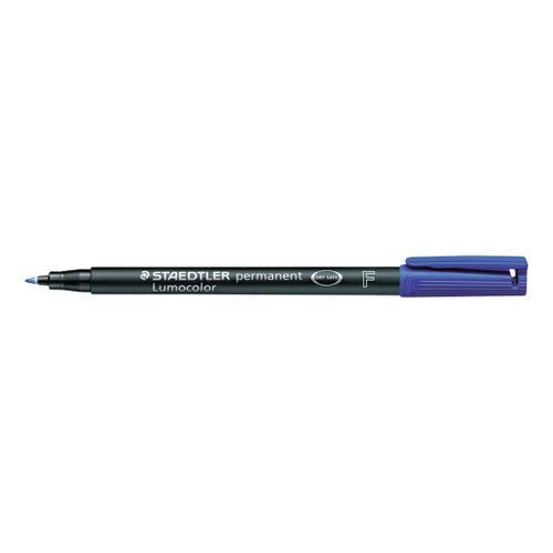 Staedtler 318 Lumocolor Permanent Pen Fine 0.6mm Line Blue Ref 318-3 [Pack 10]