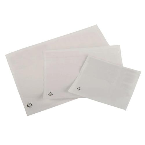 Packing List Document Wallet Polythene Plain Waterproof A6 158x110mm White [Pack 1000]