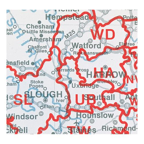 Map Marketing Postcode Areas Map Unframed 12.5 Miles to 1 inch Scale W830xH1200mm Ref BIPA