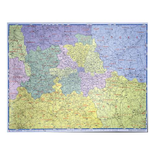 Map Marketing Postal Districts of London Map Unframed 1 Mile to 1 inch Scale W1180xH930mm Ref GLPC