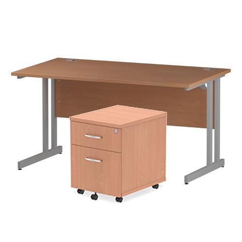 Trexus Cantilever Desk 1400 & 2 Drawer Pedestal Bch Feb3/20