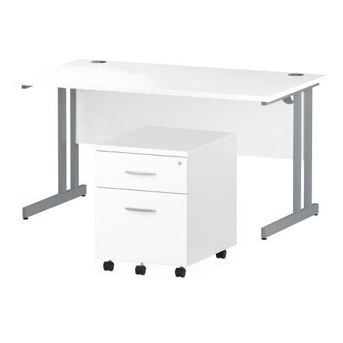 Trexus Cantilever Desk 1400 & 2 Drawer Pedestal Wht Feb3/20