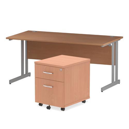 Trexus Cantilever Desk 1600 & 2 Drawer Pedestal Bch Feb3/20