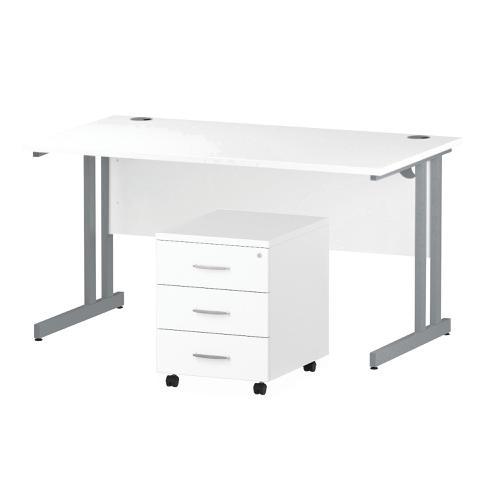 Trexus Cantilever Desk 1400 & 3 Drawer Pedestal Wht Feb3/20