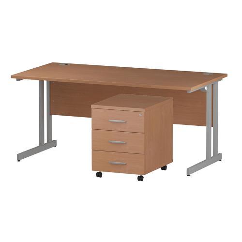 Trexus Cantilever Desk 1600 & 3 Drawer Pedestal Bch Feb3/20