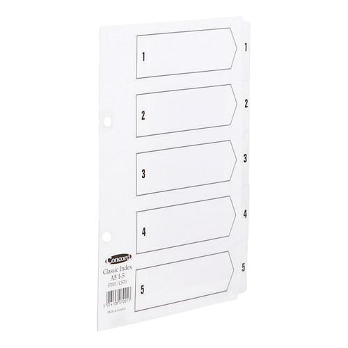 Concord Classic Index 1-5 Mylar-reinforced Punched 4 Holes 150gsm A4 White Ref 00501/CS5