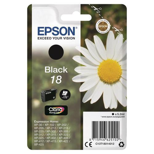 Epson 18 Inkjet Cartridge Daisy Page Life 175pp 5.2ml Black Ref C13T18014012