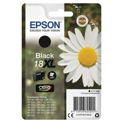 Epson 18XL Inkjet Cartridge Daisy High Yield Page Life 470pp 11.5ml Black Ref C13T18114012