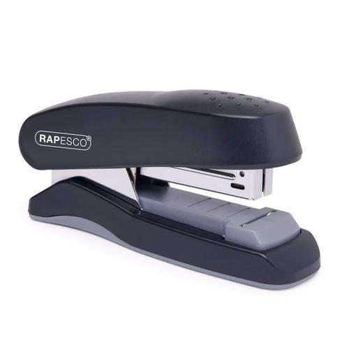 Rapesco Flat Clinch Stapler Half Strip 26/6 Black Ref 1064