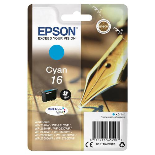 Epson 16 Inkjet Cartridge Pen & Crossword Page Life 165pp 3.3ml Cyan Ref C13T16224012