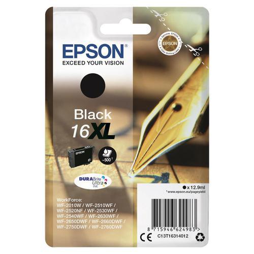 Epson 16XL Inkjet Cartridge Pen & Crossword HY Page Life 500pp 12.9ml Black Ref C13T16314012