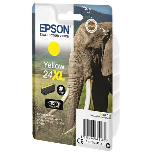 Epson 24XL Inkjet Cartridge Elephant High Yield Page Life 740pp 8.7ml Yellow Ref C13T24344012