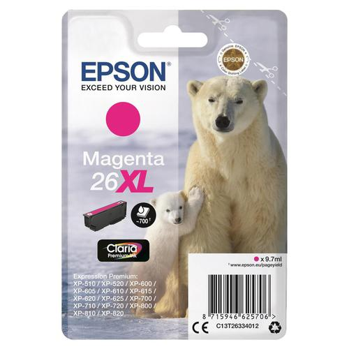 Epson 26XL Inkjet Cartridge Polar Bear High Yield Page Life 700pp 9.7ml Magenta Ref C13T26334012