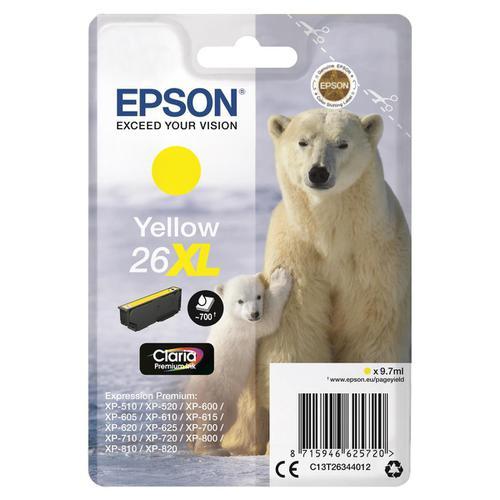 Epson 26XL Inkjet Cartridge Polar Bear High Yield Page Life 700pp 9.7ml Yellow Ref C13T26344012