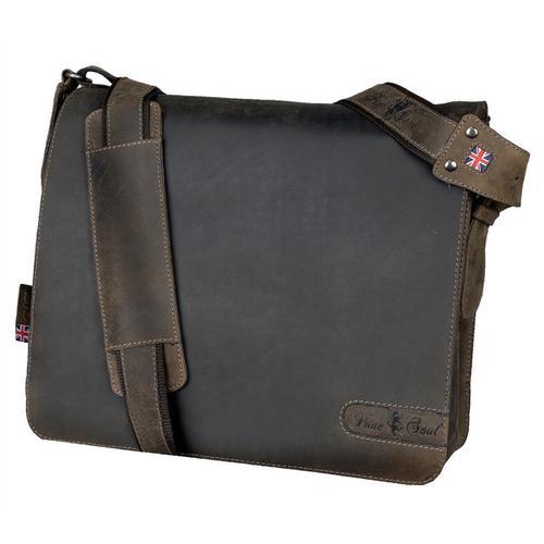 Pride and Soul Ben Shoulder Bag Laptop Leather Brown Ref 47138