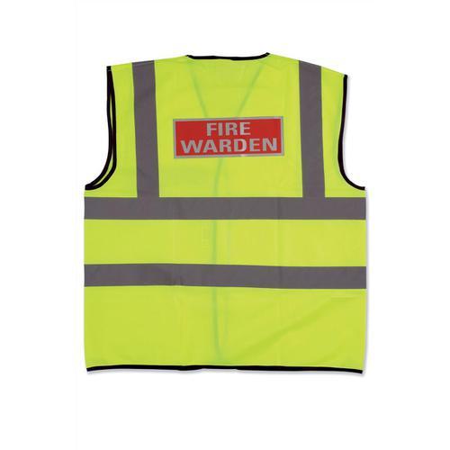 Fire Warden Vest High Visibility Yellow Vest Medium Ref WG30108
