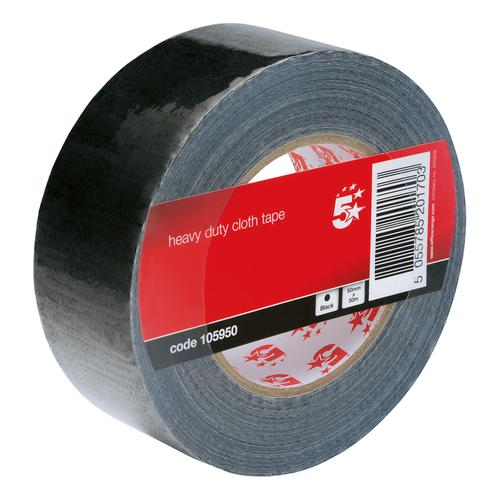 5 Star Office Cloth Tape Heavy-duty Waterproof Tearable Multisurface Roll 50mm x 50m Black