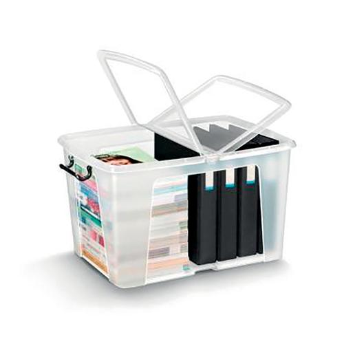 Strata Smart Box Clip-On Folding Lid Carry Handles 65 Litre Clear Ref HW686