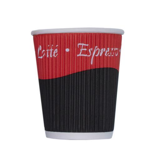 Ripple Paper Cups Triple Walled PE Lining 8oz 236ml Varied Design Ref RY00749 [Pack 25]
