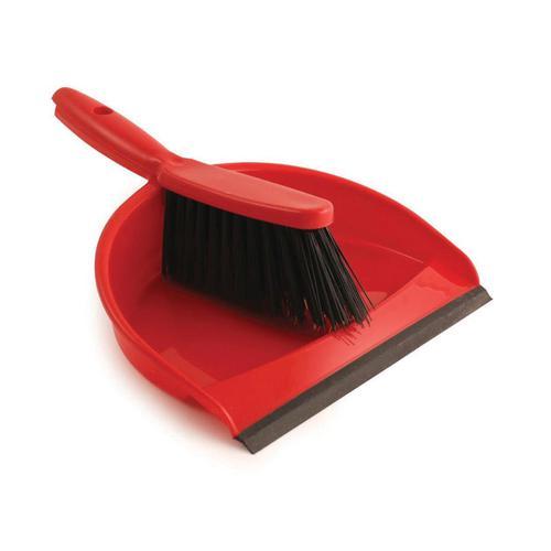 Dustpan and Brush Set Soft Bristles Red [SET]