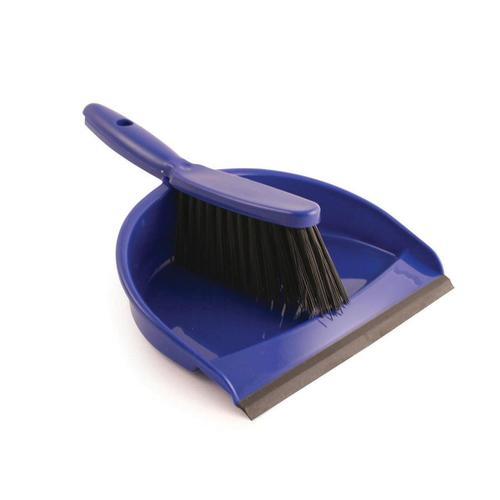 Dustpan and Brush Set Soft Bristles Blue [SET]