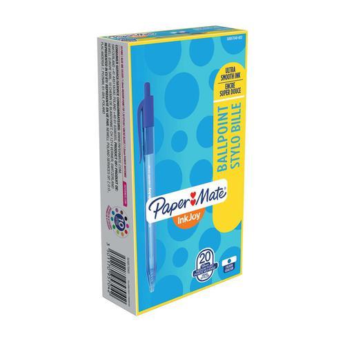 Paper Mate Inkjoy 100 Retractable Ballpoint Pen Medium 1.0mm Tip 0.7mm Line Blue Ref S0957040 [Pack 20]