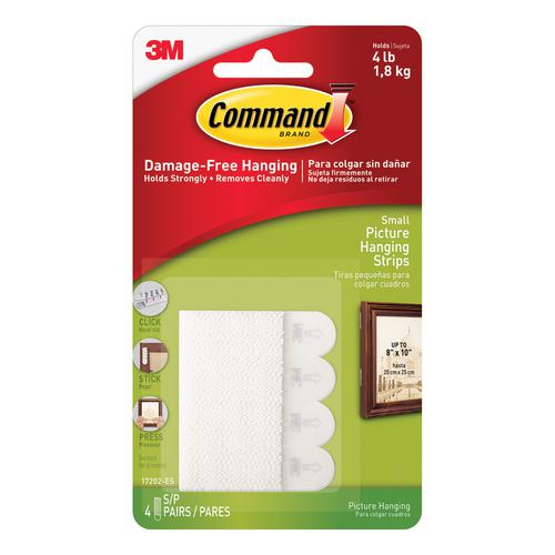 3M Command Picture Hanging Strips Adhesive Small White Ref 17202 [Pack 4]