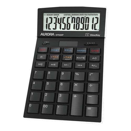 Aurora Desktop Calculator 12 Digit 4 Key Memory Battery/Solar Power 105x17x175mm Black Ref DT920PX