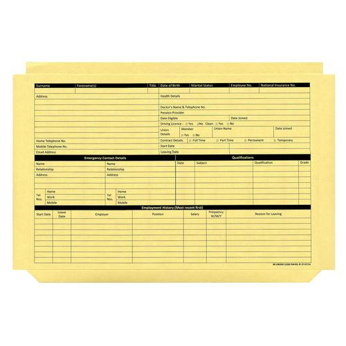 Personnel Wallets Pre-printed Yellow [Pack 50]