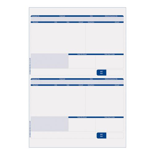 Sage Compatible Payslip 2 Per A4 Sheet Ref SE96 [Pack 500 Forms/1000 Payslips]