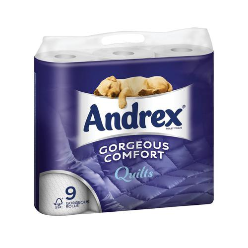 Andrex Toilet Rolls Supreme Quilts 4-Ply 124x103mm 160 sheets White Ref 1102159 [Pack 9]