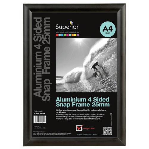Snap Frame with Mounting Kit Aluminium with Anti-glare PVC Front-loading A1 594x841mm Black