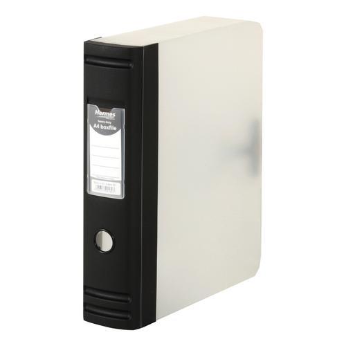 Hermes 2-D Ring Box File Polypropylene 80mm Spine A4 Black Ref 8BA4001