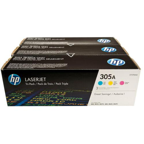 HP 305A Laser Toner Cartridges PageLife 2600pp Cyan/Magenta/Yellow Ref CF370AM [Pack 3]